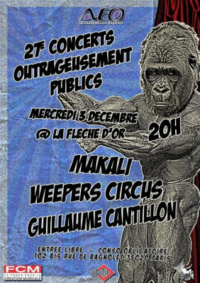 Concerts, Paris, OUrtrageusement Publics, Fleche d'Or, Guillaume Cantillon, Kaolin, Weepers Circus, Makali