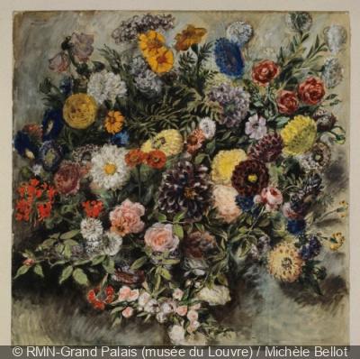 Eugène Delacroix, Bouquet de fleurs, aquarelle