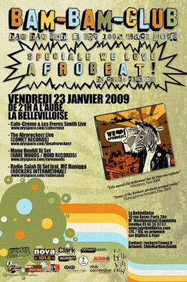 Bam Bam Club, Tony Allen, Paris, Bellevilloise, Fela Kuti, Café-Crème & Les Frères Smith, Afrorockerz, Manu Boubli