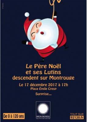 Le Père Noël et ses lutins descendent du ciel à Montrouge