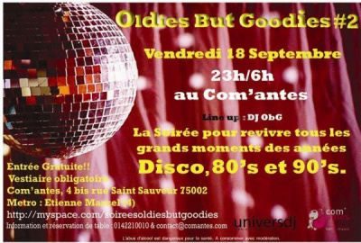 Oldies but Goodies, Soirée, Paris, Com'antes, 80's, Disco