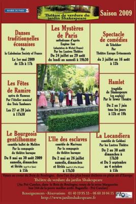Théâtre de verdure, Jardin de Shakespeare, Jardin du Pré Catelan, Saison 2009, Paris, Spectacles