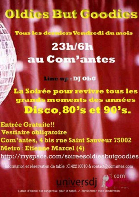 Oldies but Goodies, Comantes, Paris, Soirée, Clubbing