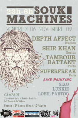 Souk Machines, Shir Khan, Depth Affect,Tambour Battant, Glazart, Soirée, Paris