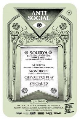 Sourya, Antisocial, Social Club, Soirée, Paris