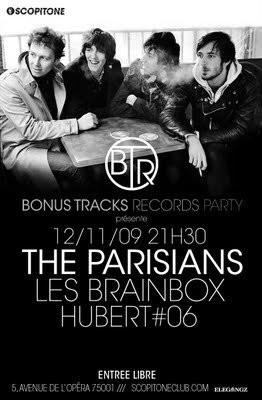 Bonus Tracks Records Party, The Parisians, les Brainbox, Hubert 06, Scopitone, Concerts, Paris