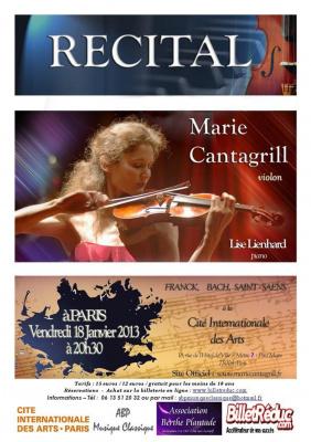 La violoniste virtuose Marie Cantagrill en Récital à PARIS le 18 Janvier 2013