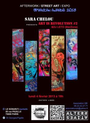 Exposition éphémère de Street Art à Paris 75009 le lundi 4 février avec l'artiste SARA CHELOU