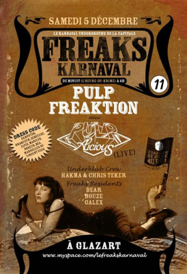 Freaks Karnaval, pulp Freaktion, Glazart, Soirée, Paris