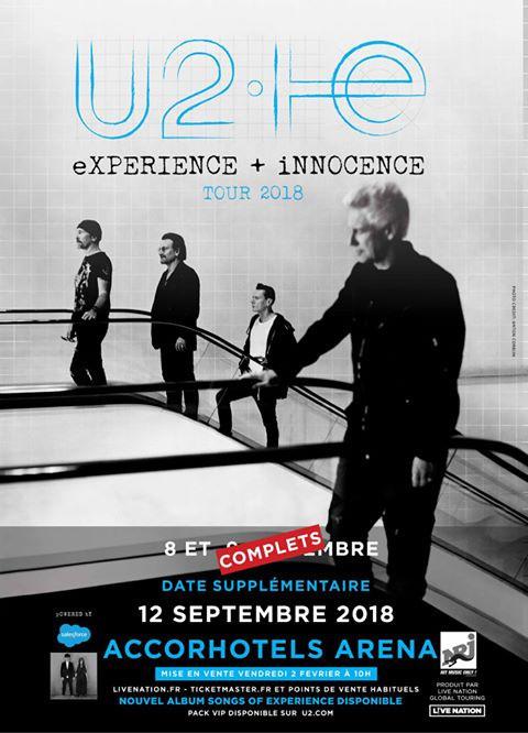 U2 live at Paris AccorHotels Arena in September 2018