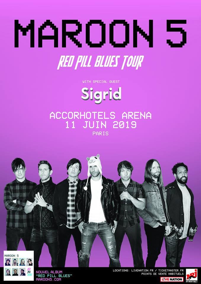 D Exhibition Bangkok : Maroon en concert à l accorhotels arena bercy de paris