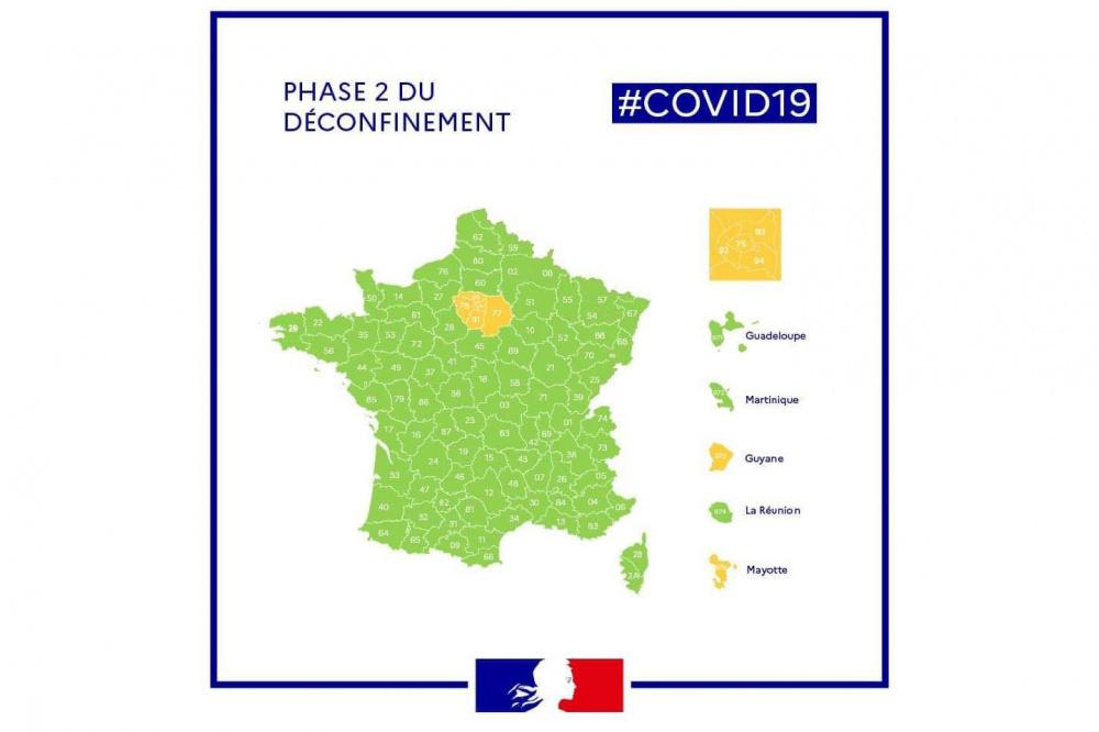 carte week end 29 euros Coronavirus: the deconfinement map by department   Sortiraparis.com