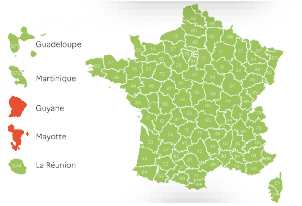 Deconfinement Map By Department Metropolitan France In Green Sortiraparis Com