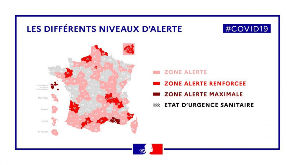 Map of France Coronavirus: vulnerable departments, red and ...