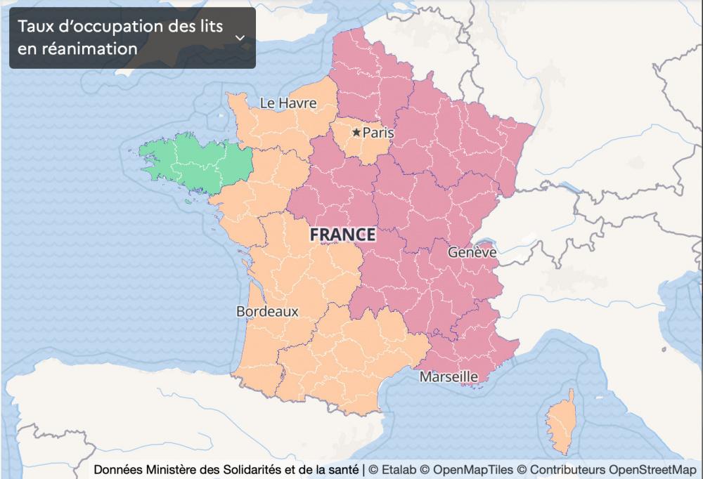 France Covid Map January 26 Icu Bed Occupancy Rate Per Region Sortiraparis Com