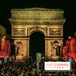 Réveillon du Nouvel an 2020 sur les Champs Élysées, spectacle sur l'Arc de Triomphe à Paris