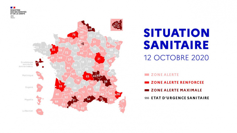 Carte de France Covid le 12 octobre : 74 en zone rouge dont 6 en écarlate et 12 en Alerte Maximale