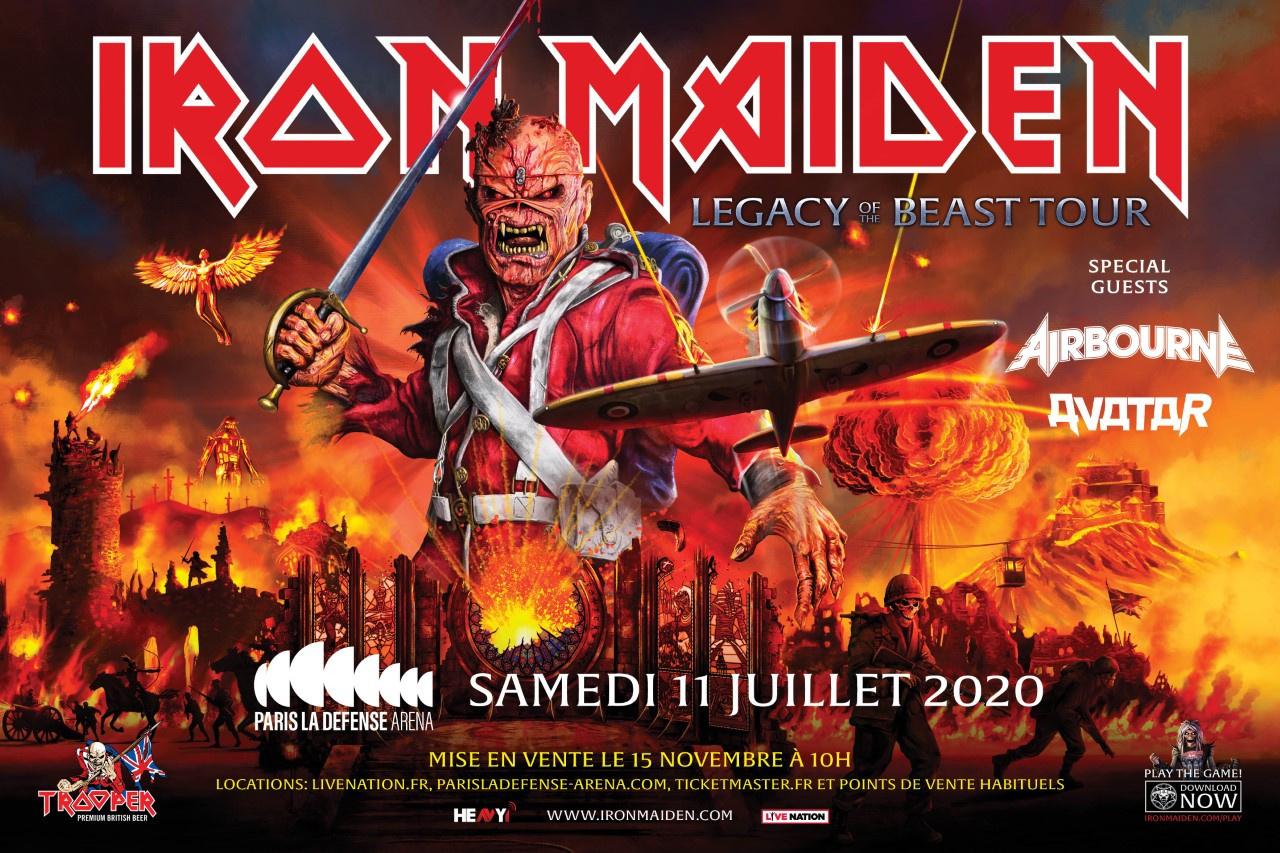 Iron Maiden en concert à Paris La Défense Arena en juillet 2020