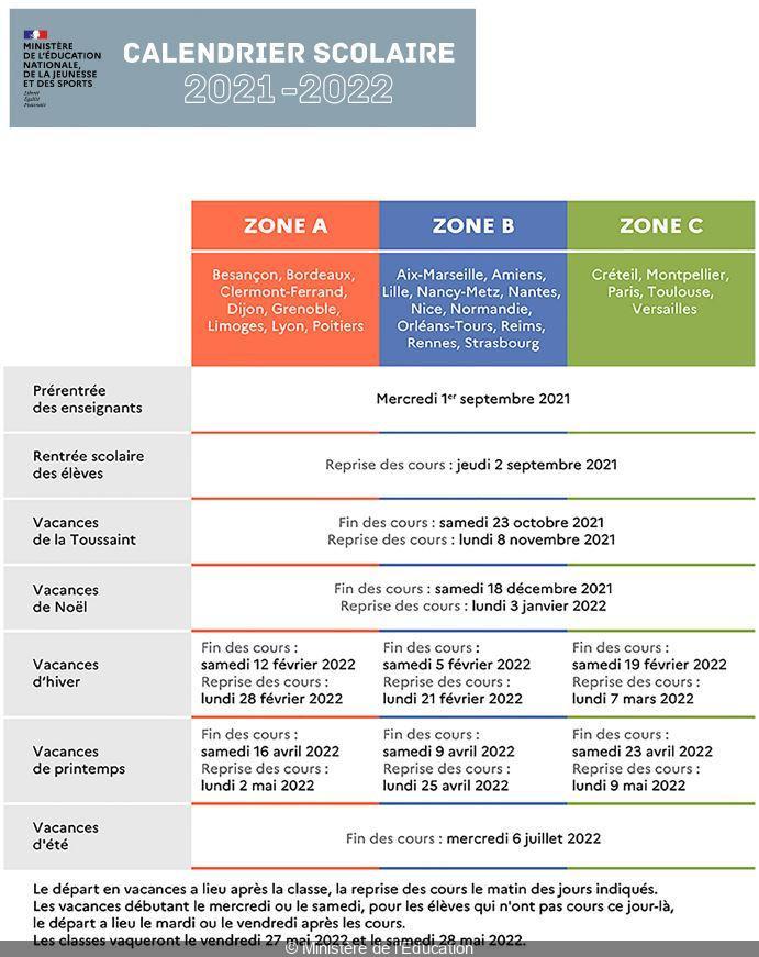 Calendrier De Laprès 2022 Vacances scolaires : le calendrier de l'année 2021–2022, zone par