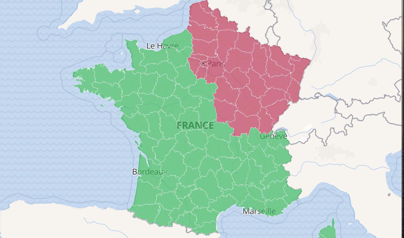 carte des départements de france 2020 Coronavirus: Deconfinement map in France as of May 21, 2020