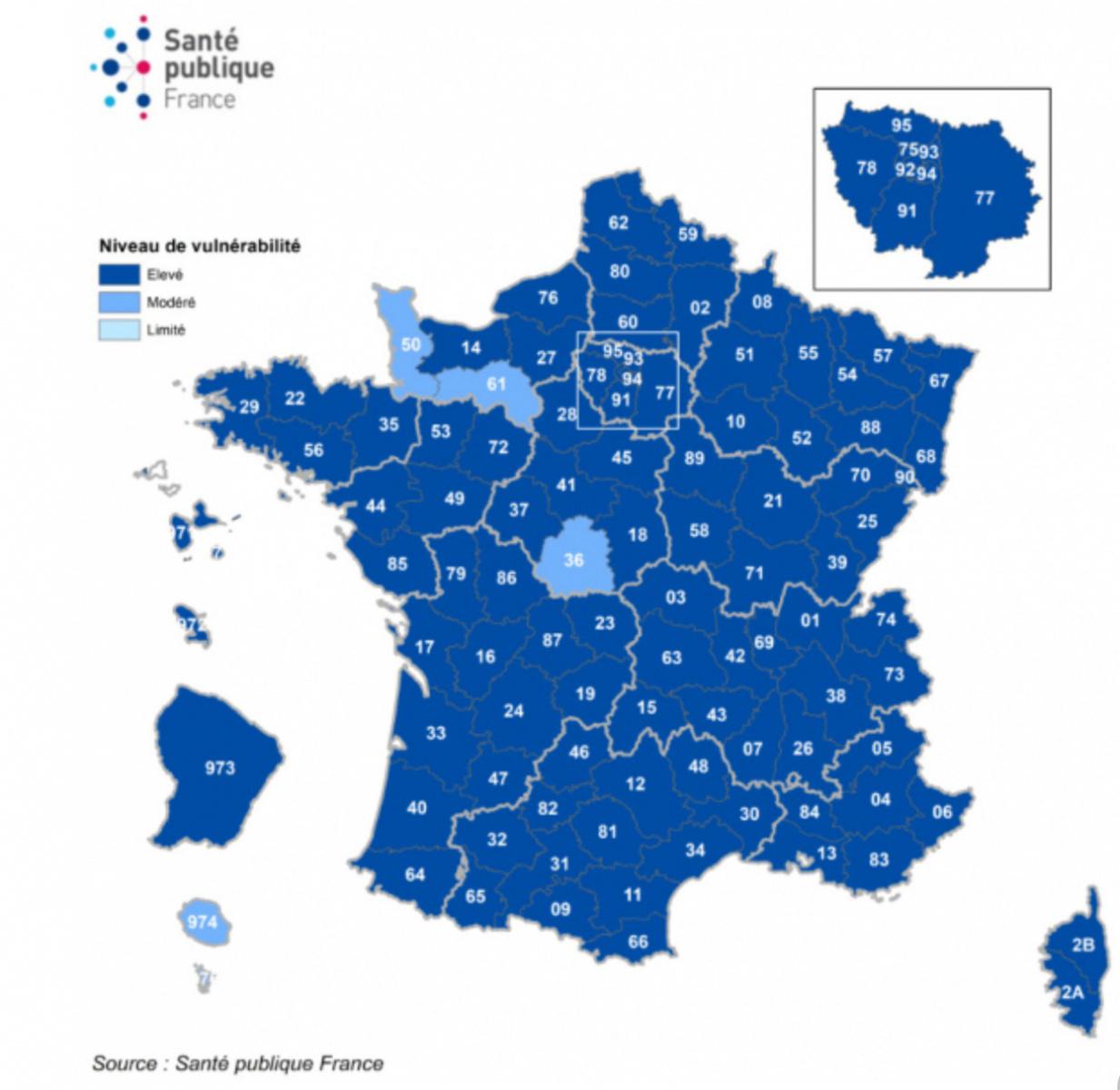 Carte De France Coronavirus Les Departements En Vulnerabilite La France En Etat D Urgence Sanitaire Deuxieme Confinement Sortiraparis Com