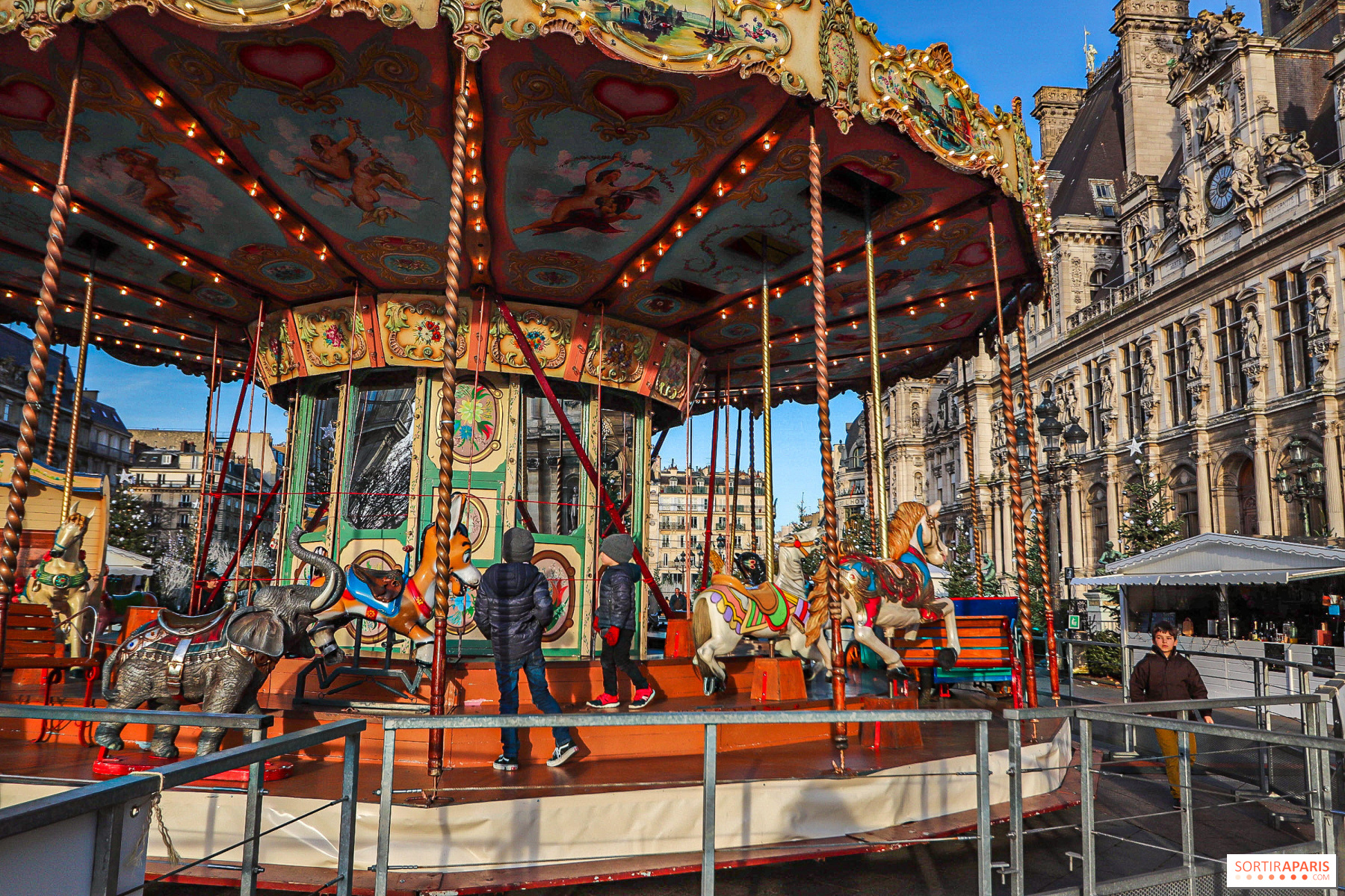 Christmas village and market 2019 in front of Paris City Hall